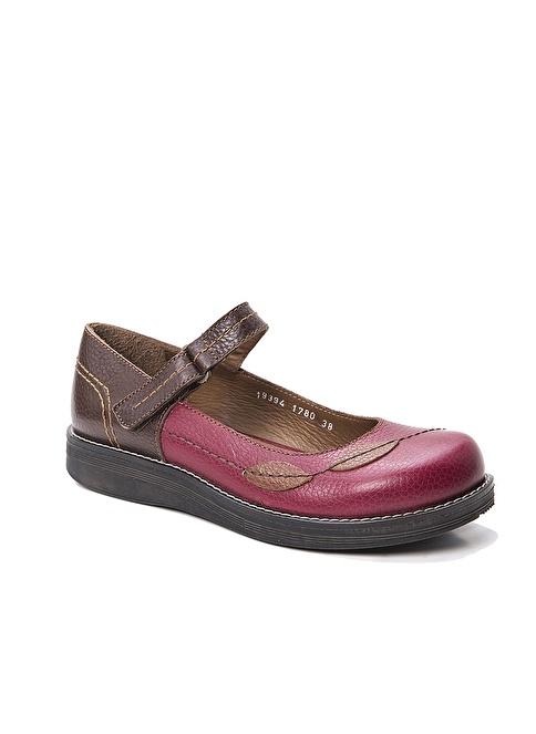 Beta Hakiki Deri Desenli Ayakkabı Bordo